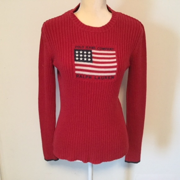 VIntage Ralph Lauren Polo Jeans Flag 90s Sweater. M 5b7061b3819e904e09b301a2 4df5d0f86cdcd